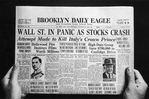 Wall Street Crash headline on newspaper