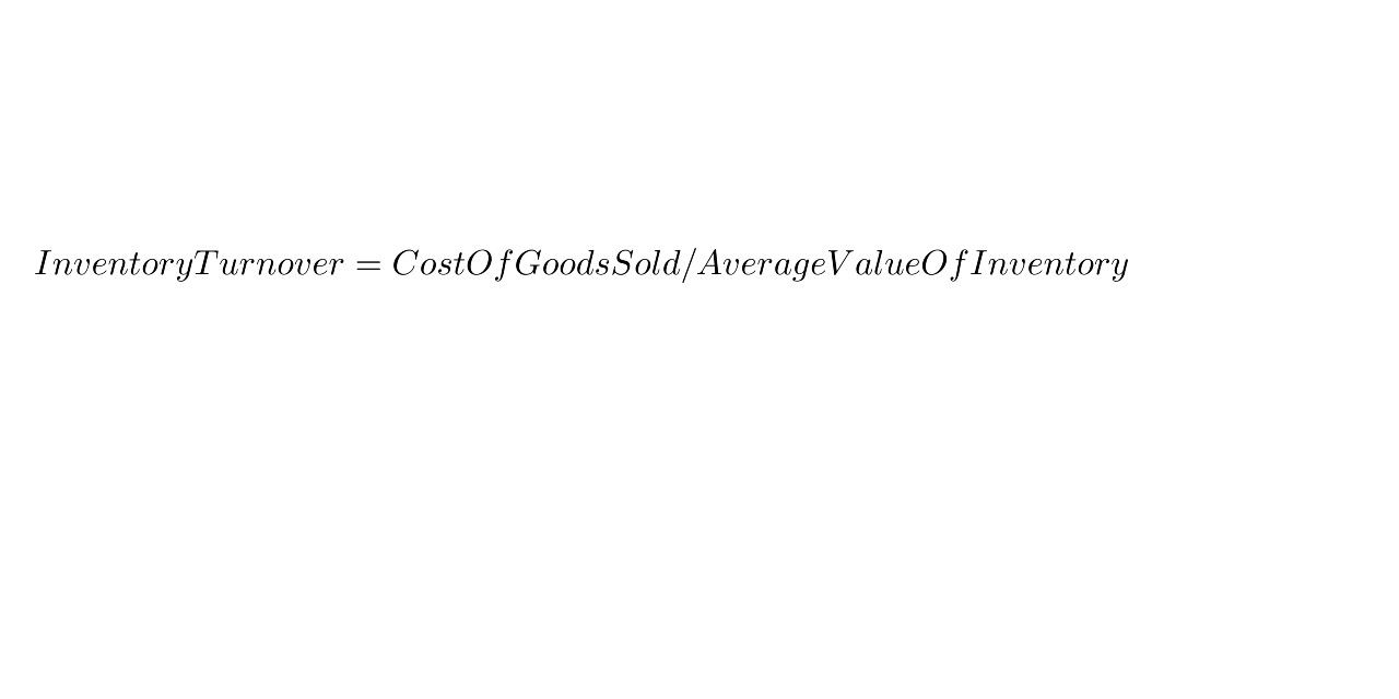 Inventory Turnover Cost Of Goods Sold Average Value