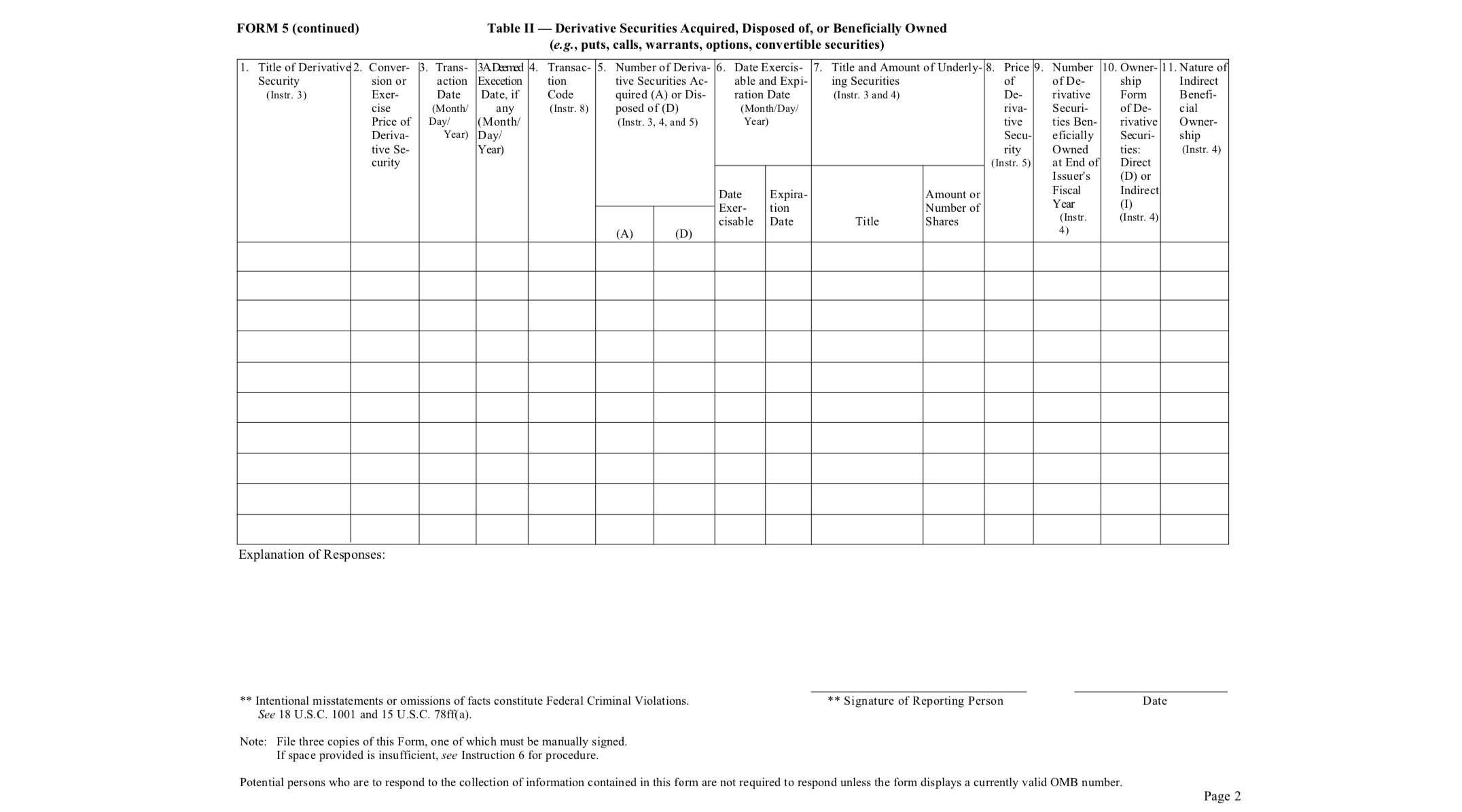 SEC Form 5 Page Two Example
