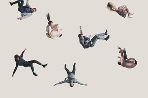 Group of people in the air, falling down