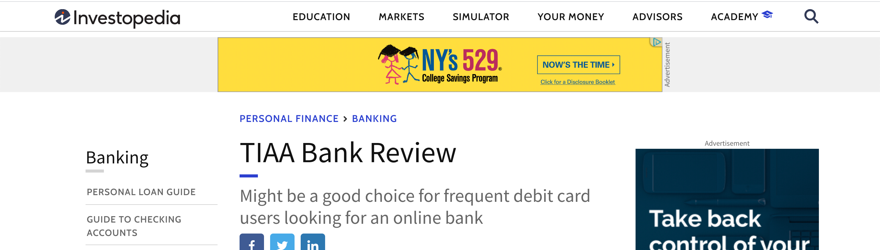 screenshot of display ads on a bank review