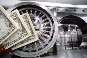 Bank vault with United States currency