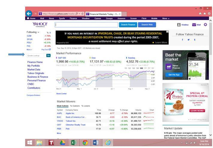 Yahoo Finance Using The Quote Lookup Box Brings Users Directly To That Stock S Home Page Where A Menu Of Options On Left Side Can Be Found