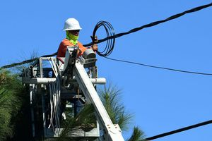 Power lines are worked on in South Gate, California