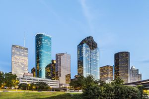 Cityscape of Houston in late afternoon light.