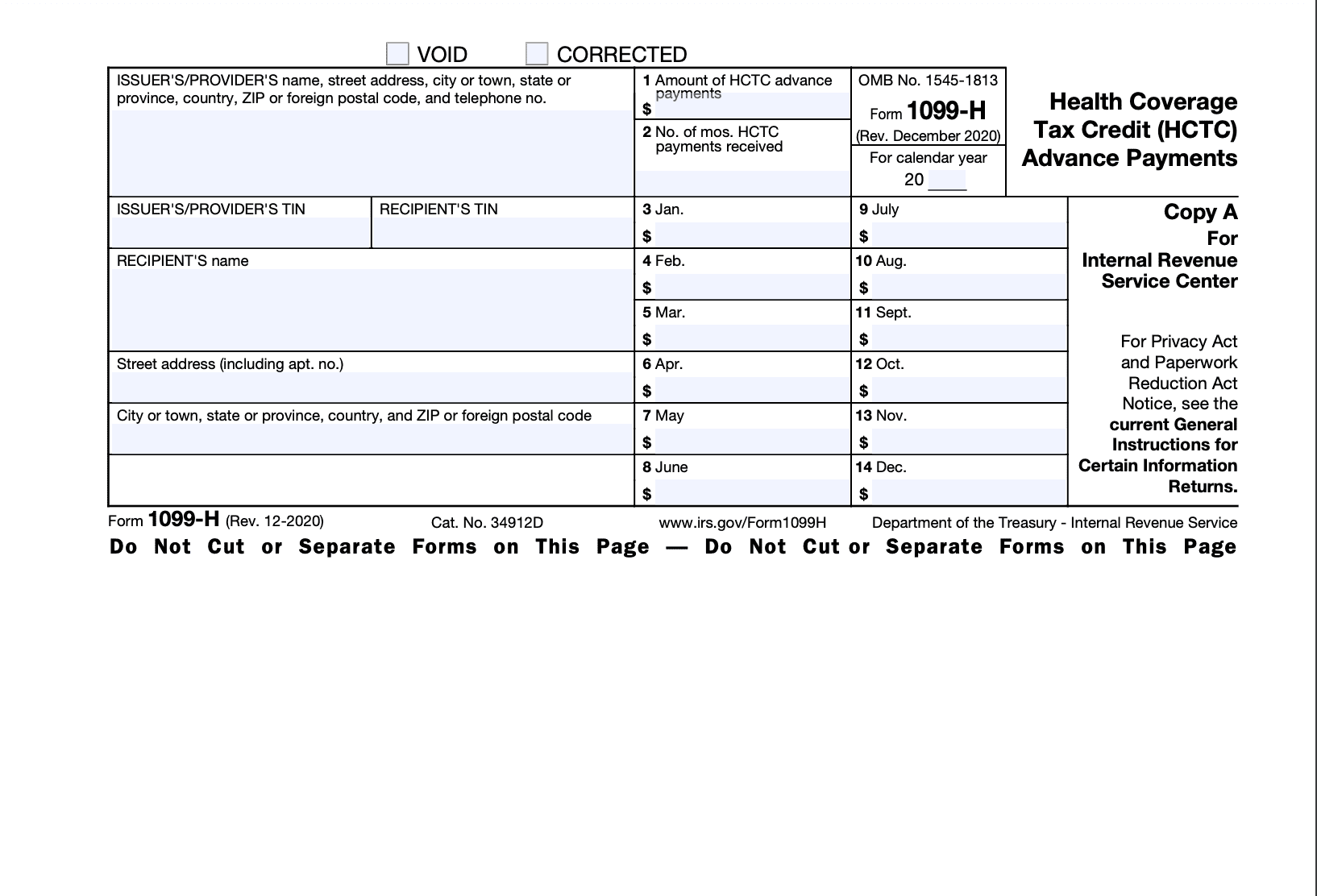 Form 1099-H Page 1