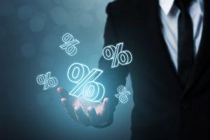A businessman hand show icon percent 3d sign.
