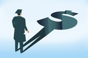 Drawing of graduate whose shadow is a dollar sign that's a chasm