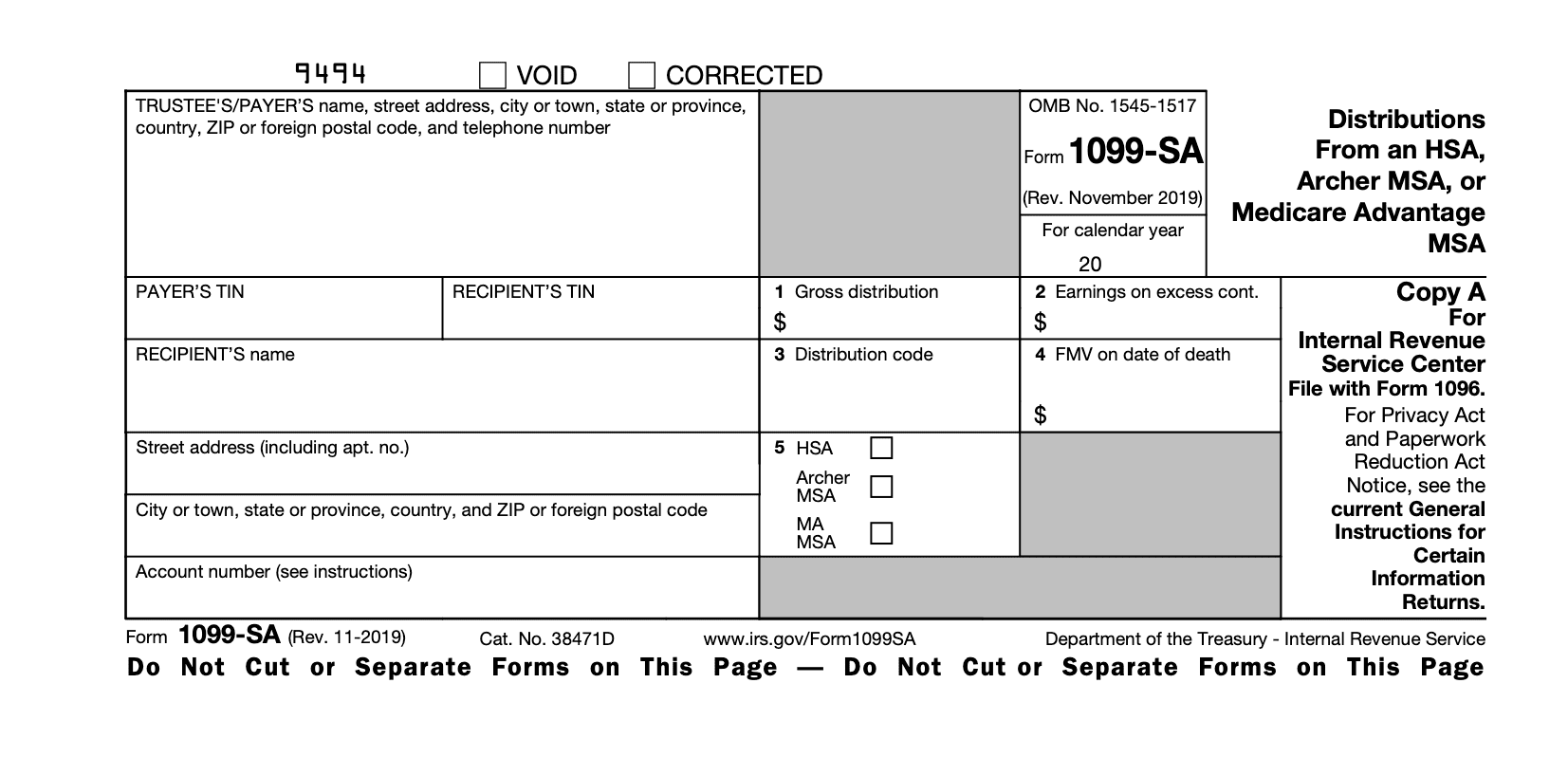What Is IRS Form 1099-SA: Distributions from an HSA ... |Hsa Distribution Form