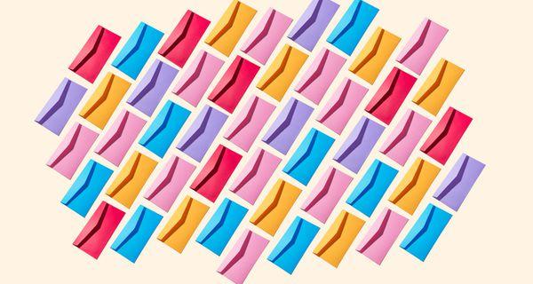 Diagonally aligned, multicolored envelopes
