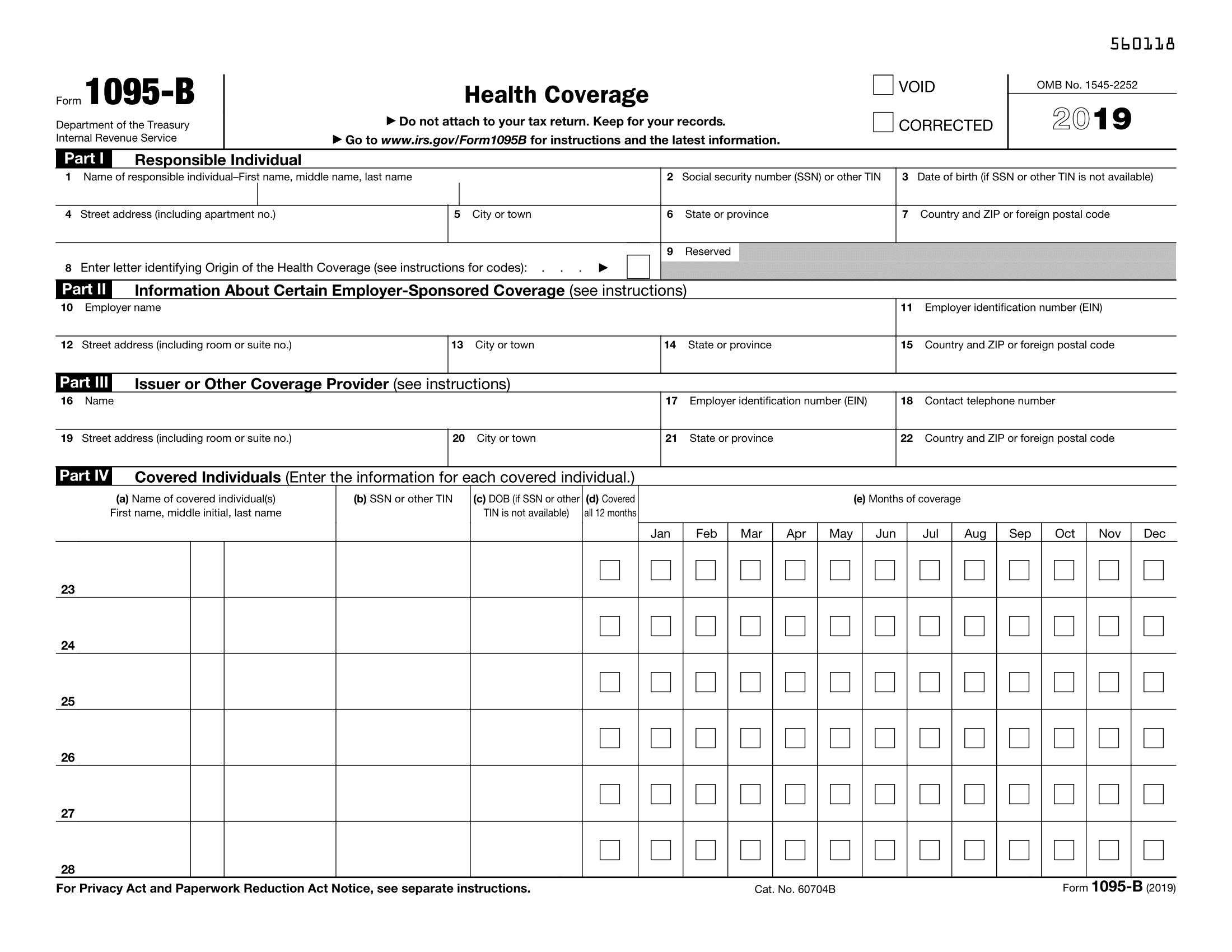 Form 1095 B Health Coverage Definition