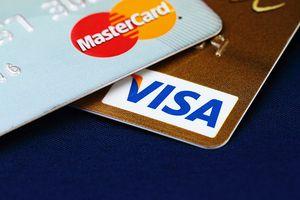 Close-up of Mastercard and Visa card logos