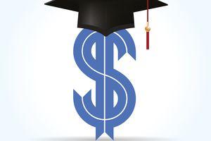 Dollar symbol with a graduation cap.