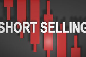 Save to Board Short selling or shorting title graphic 3D for stock market