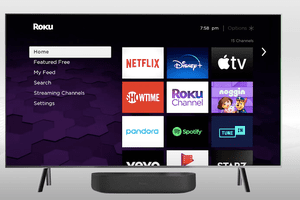 Roku streambar with supported streaming services shown on a display