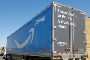 Semi truck with logos for Amazon Prime service.