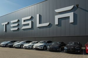 Image of Tesla facility and cars
