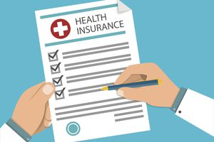 Man at the table fills in the form of health insurance. Healthcare concept. Vector illustration flat design style.
