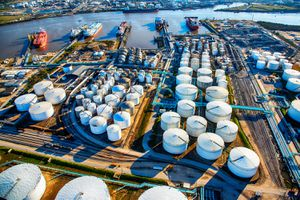 Aerial View of a Texas Oil Refinery and Fuel Storage Tanks