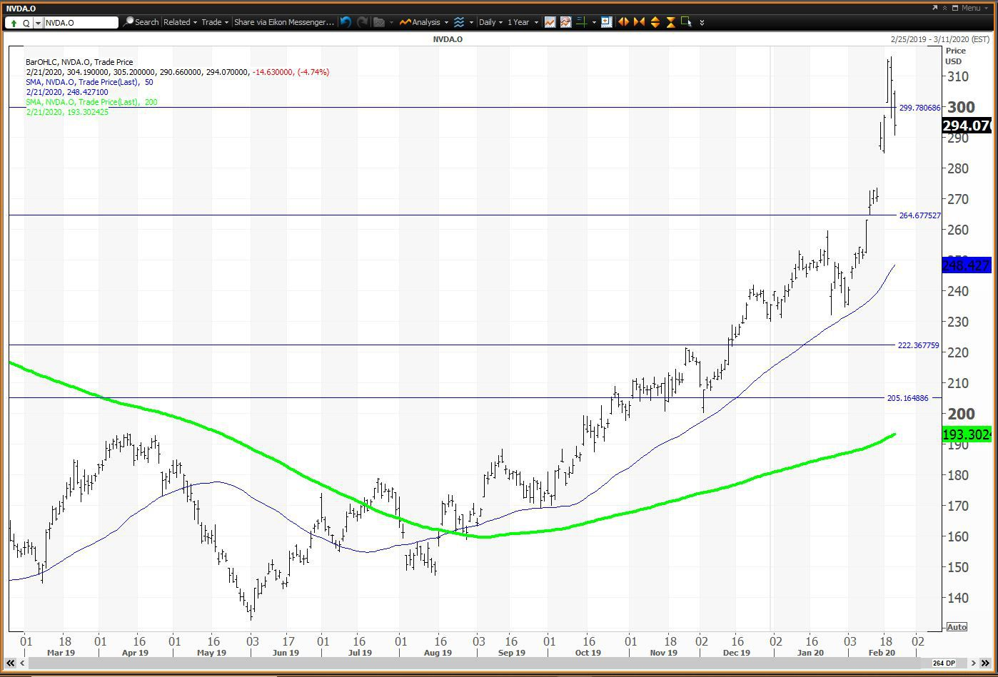 Daily chart showing the share price performance of NVIDIA Corporation (NVDA)