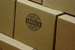 Stack of cardboard boxes stamped
