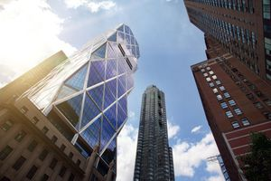 Looking up at Hearst Tower in New York City's skyline