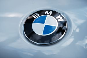 A BMW logo is displayed on a vehicle in Manhattan on August 01, 2019 in New York City.