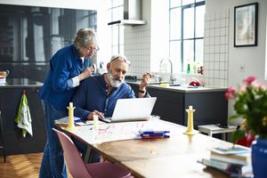 Senior couple planning retirement finances