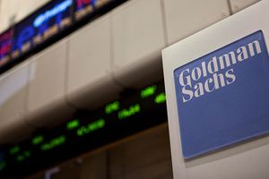 A Goldman Sachs logo is displayed on the floor of the New York Stock Exchange in New York City.