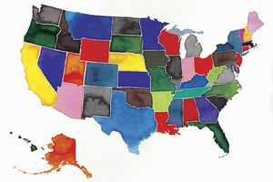 Colorful 50-state map of the US