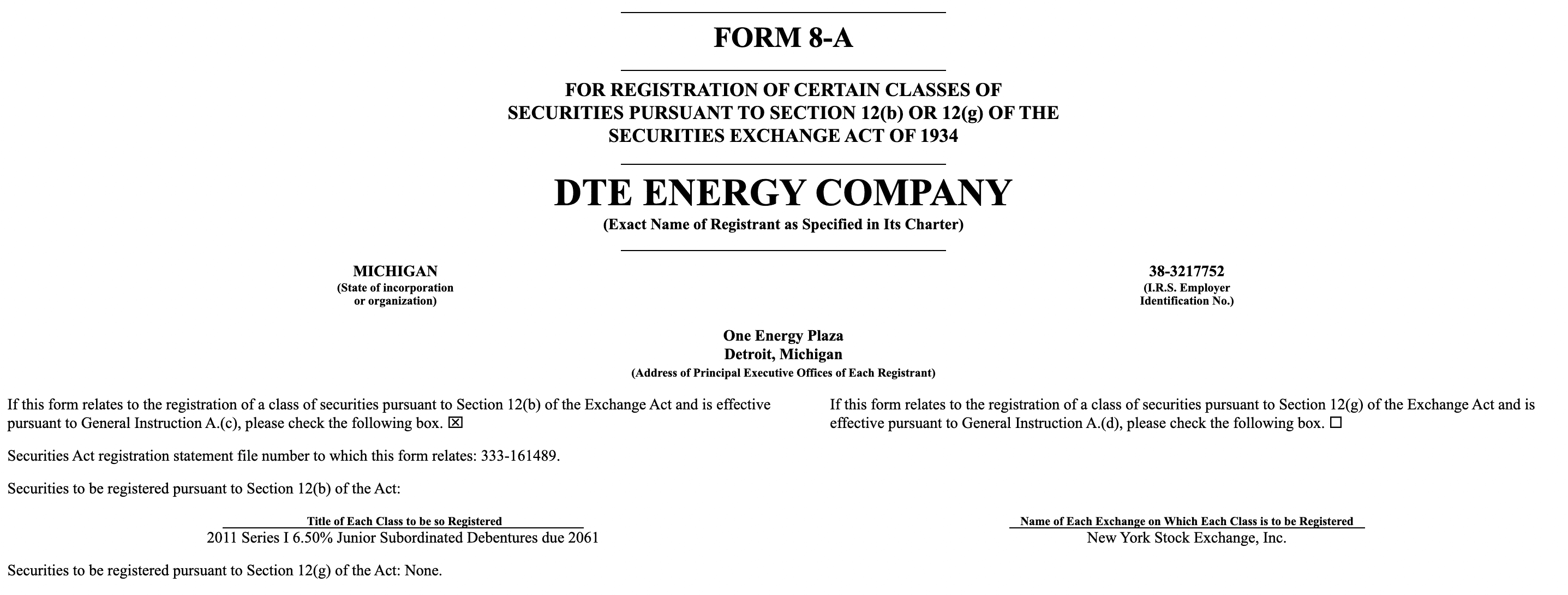 DTE ENERGY COMPANY Form 8-A