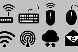 Images of broadband icons such as Wi-Fi, email, wireless mouse, the cloud