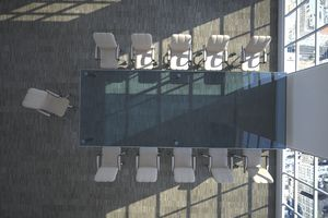 aerial view of an empty conference room
