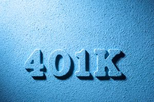 401(k) in raised letters