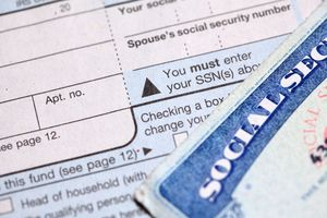A social security card and tax form.