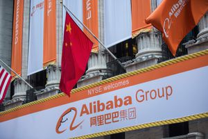 Alibaba Group signage is posted outside the New York Stock Exchange prior to the company's initial price offering (IPO) on September 19, 2014 in New York City.