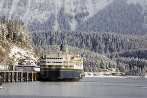 Alaska State ferry, M/V Kennicott, at Auke Bay terminal, near Juneau, Alaska.