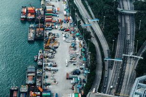 Busy container cargo freight ship terminal in Hong Kong, China