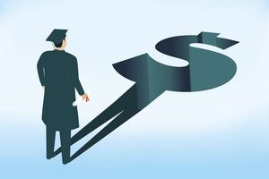 Illustration of person in cap and gown whose shadow is a dollar bill