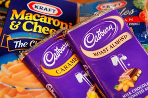Kraft brand Macaroni & Cheese and American Cheese Singles are displayed alongside Cadbury chocolate