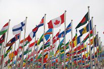Rows of flags of many nations flying from flagpoles