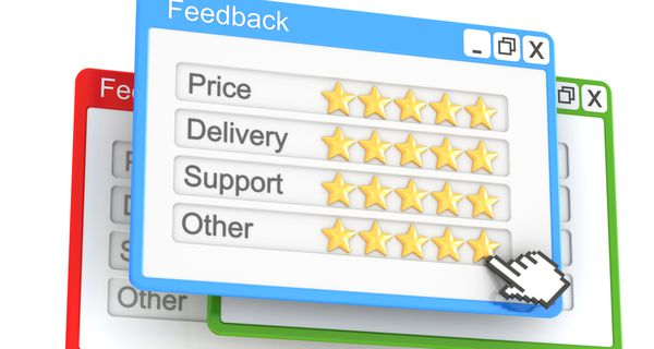 """Virtual feedback forms that allow a user to rate price, delivery, support, and """"other"""" with one to five gold stars"""