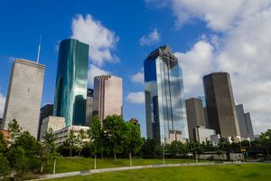 Office buildings in downtown Houston, Texas, near Sam Houston Park.