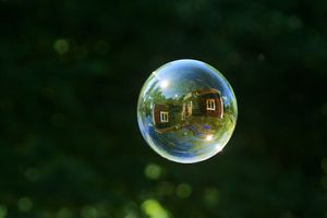 House Reflecting On Soap Bubble