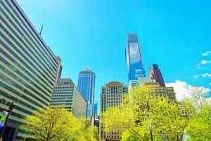 Penn Center and skyline with skyscrapers of Philadelphia