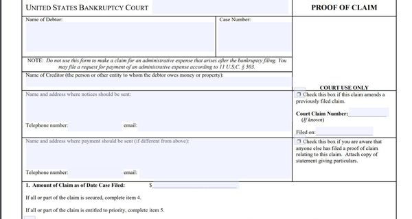 Proof of Claim from from United States Bankruptcy Court