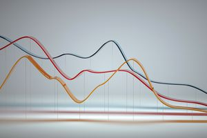 Abstract multi-colored curve chart