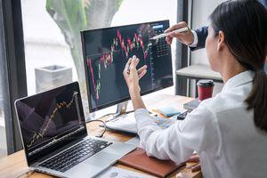 woman at desktop looking at financial charts