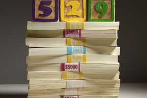 Stack of money topped by three blocks labeled 5, 2, 9
