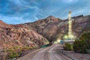 Drilling Fracking Rig at Dusk